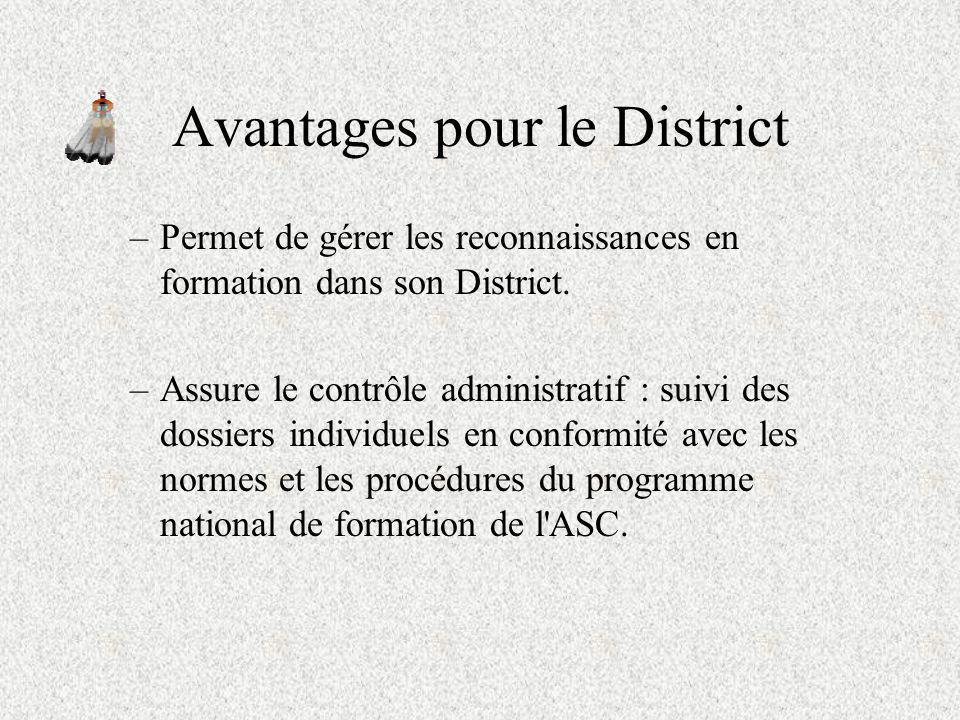 Avantages pour le District –Permet de consulter les dossiers B jour des adultes en apprentissage. –Permet au Responsable de la formation de tenir un r