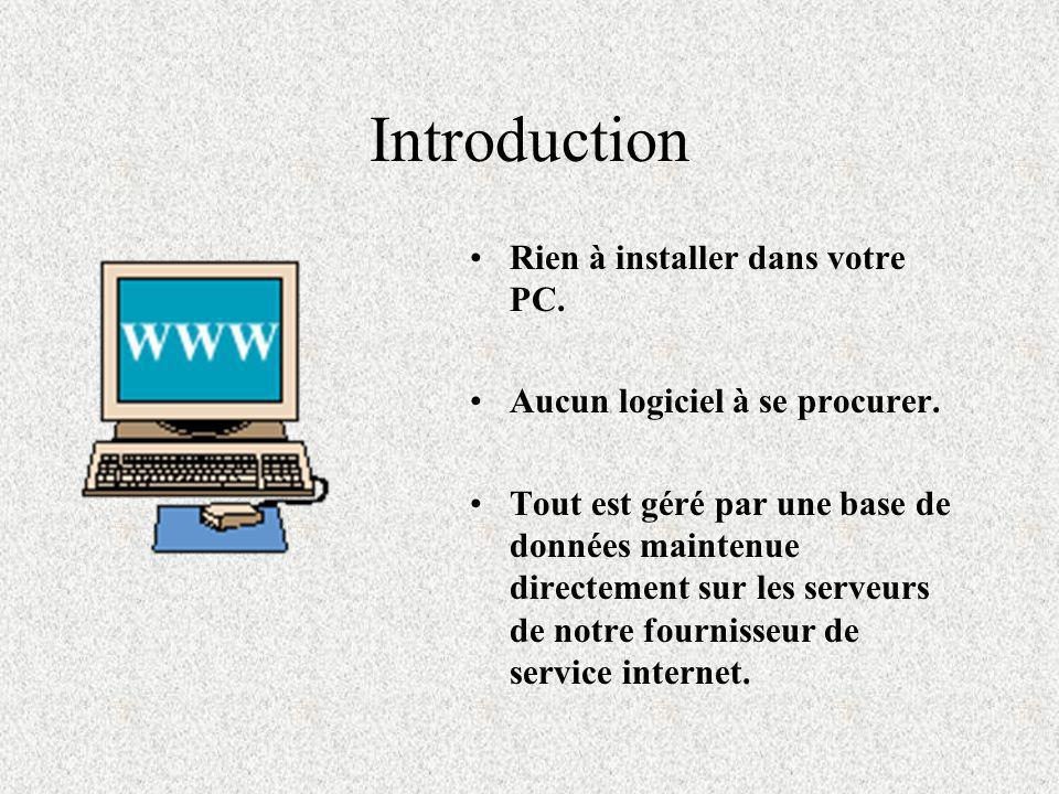 Introduction Rien à installer dans votre PC.Aucun logiciel à se procurer.