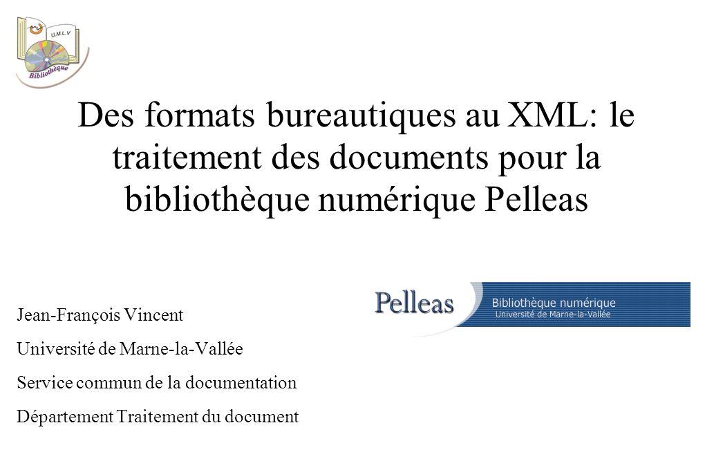 Word et le XML Word ne produit pas de document structuré Mais il permet d appliquer des styles sur des éléments structurels (titres, paragraphes, citations, légendes...) Une partie de la mise en forme, également structurante, est aussi plus ou moins facile à récupérer (gras, italiques, par exemple).