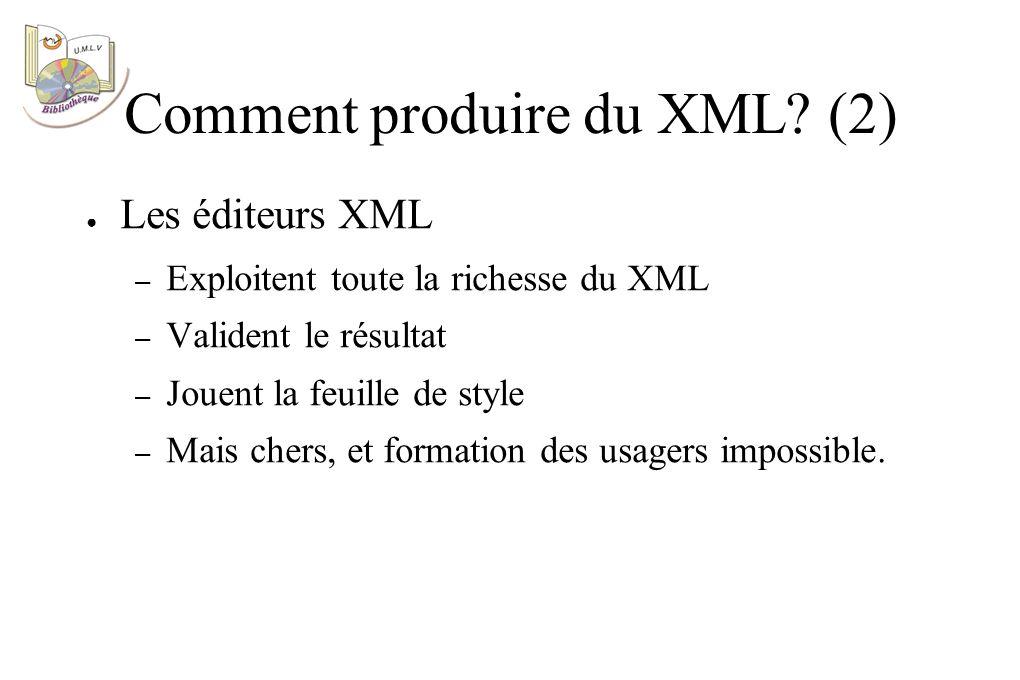 Les éditeurs XML – Exploitent toute la richesse du XML – Valident le résultat – Jouent la feuille de style – Mais chers, et formation des usagers impossible.