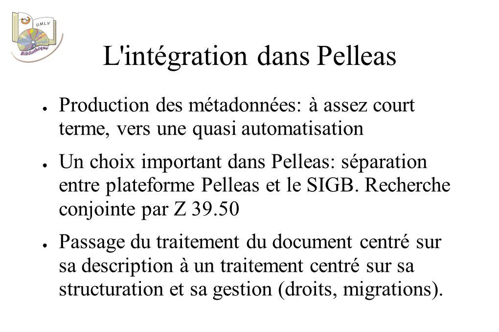 L intégration dans Pelleas Production des métadonnées: à assez court terme, vers une quasi automatisation Un choix important dans Pelleas: séparation entre plateforme Pelleas et le SIGB.