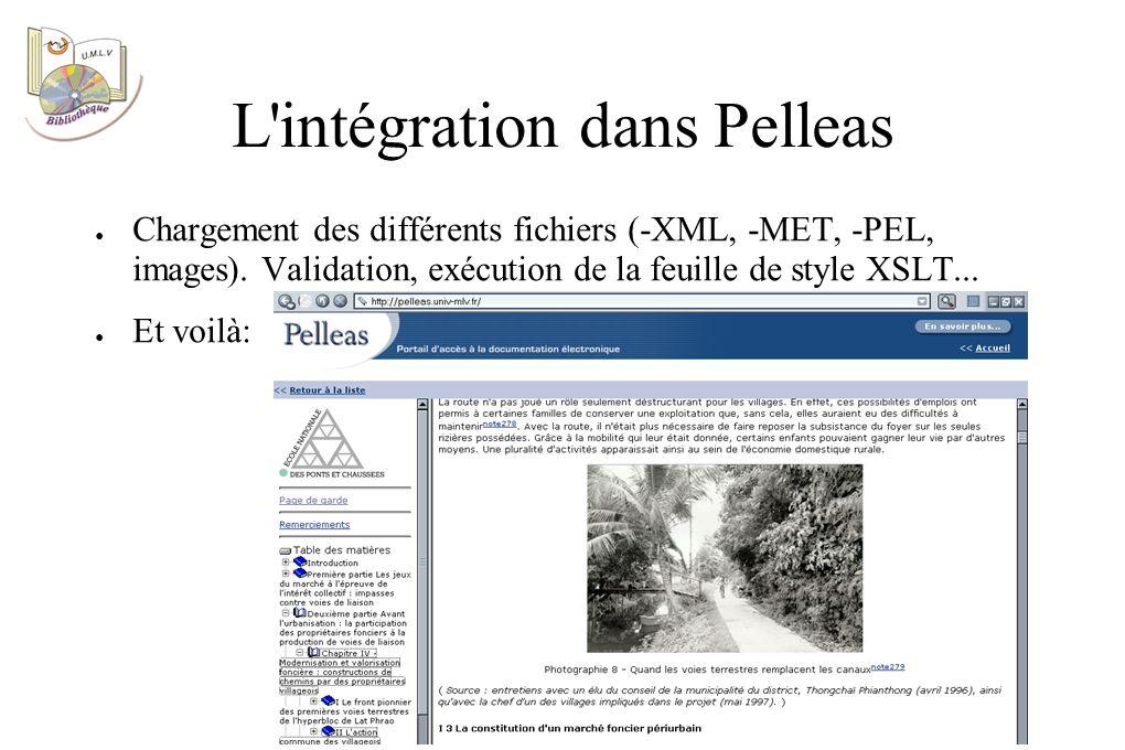 L intégration dans Pelleas Chargement des différents fichiers (-XML, -MET, -PEL, images).