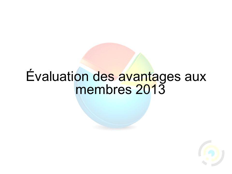 30 Évaluation des avantages aux membres 2013