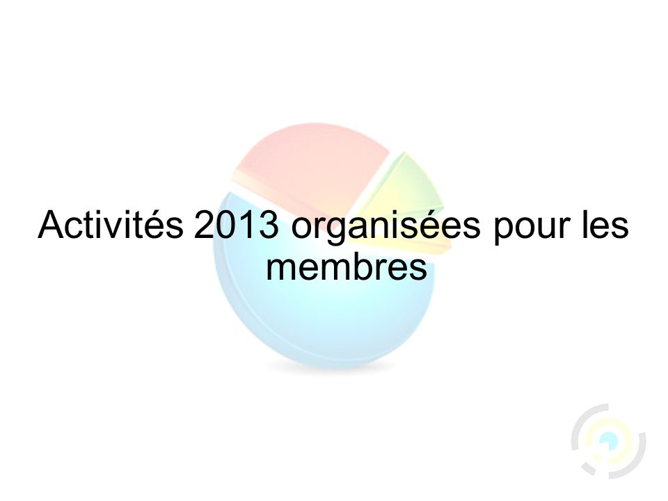 37 Activités 2013 organisées pour les membres