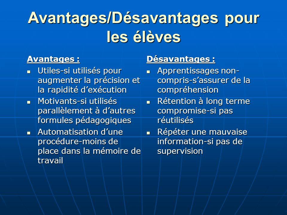 Avantages/Désavantages pour les élèves Avantages : Utiles-si utilisés pour augmenter la précision et la rapidité dexécution Utiles-si utilisés pour au