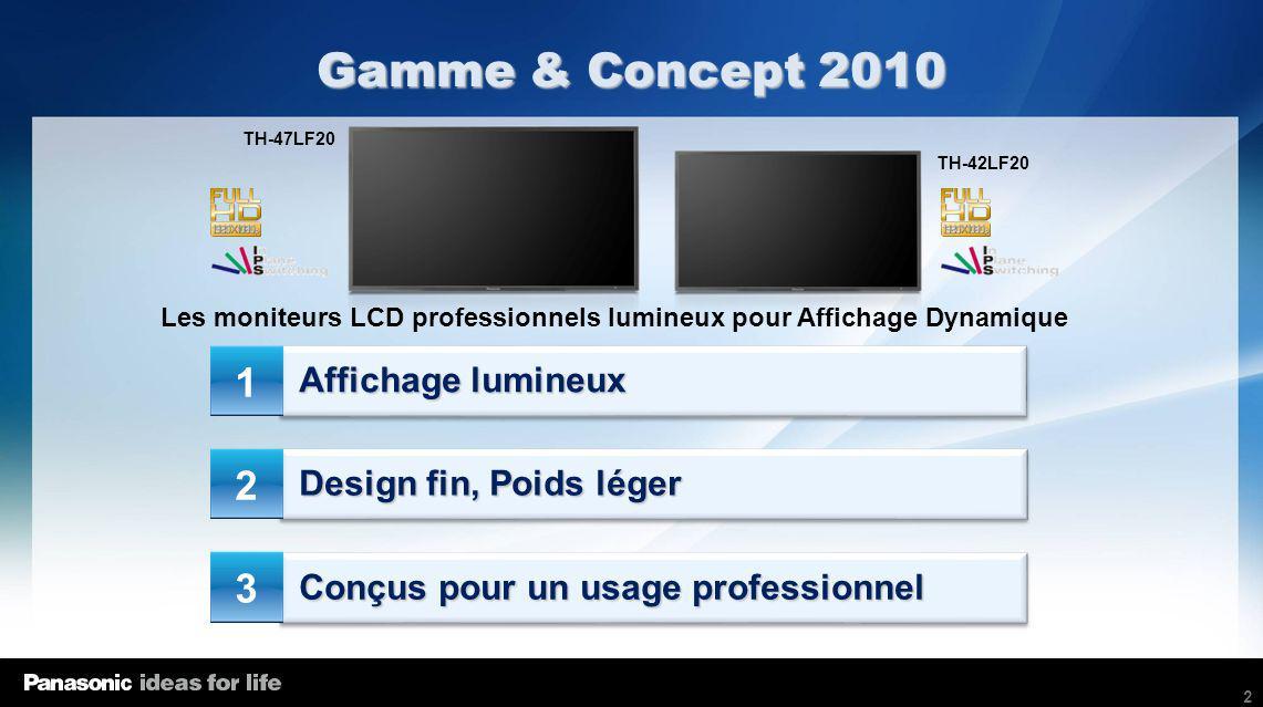2 Affichage lumineux Design fin, Poids léger Conçus pour un usage professionnel Gamme & Concept 2010 Les moniteurs LCD professionnels lumineux pour Af