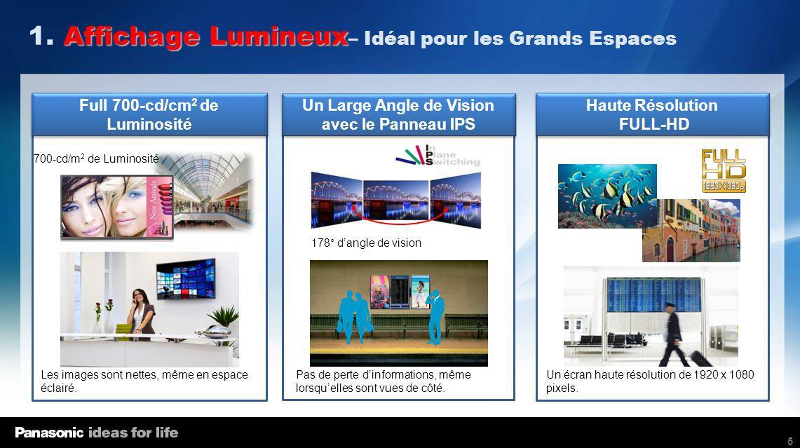 5 Full 700-cd/cm 2 de Luminosité Haute Résolution FULL-HD Haute Résolution FULL-HD Un Large Angle de Vision avec le Panneau IPS Un Large Angle de Visi