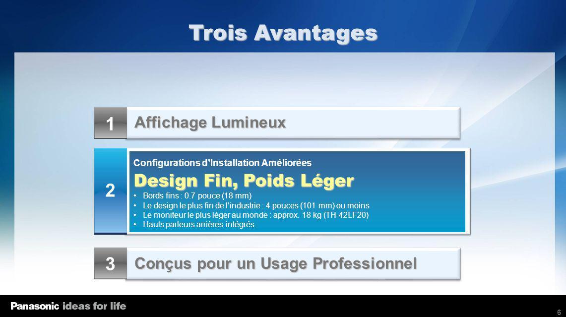 6 Affichage Lumineux Conçus pour un Usage Professionnel Configurations dInstallation Améliorées Design Fin, Poids Léger Bords fins : 0.7 pouce (18 mm)