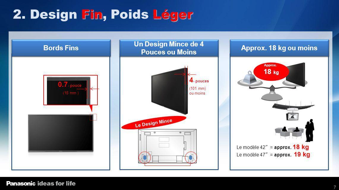 7 Bords Fins Approx. 18 kg ou moins Un Design Mince de 4 Pouces ou Moins FinLéger 2. Design Fin, Poids Léger 0.7 - pouce 4 - pouces (18 mm ) (101 mm)