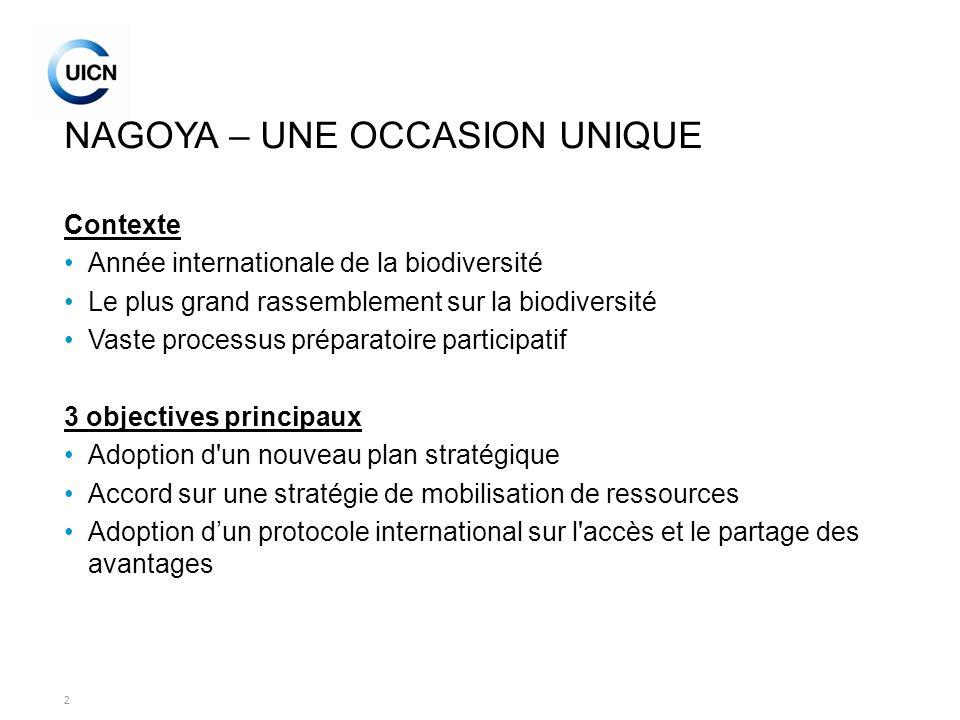3 REPONDRE A LA CRISE DE LA BIODIVERSITE Perspectives mondiales sur la biodiversité (GBO3) Echec de lobjectif de 2010 Etude sur la valeur économique des services des écosystèmes et de la biodiversité (TEEB) Besoins principaux: –Plan stratégique 2011-2020 ambitieux pour la CBD –Ressources financières stables pour la conservation –Répondre aux 3 objectives de la Convention –Protocole international sur l accès et le partage des avantages