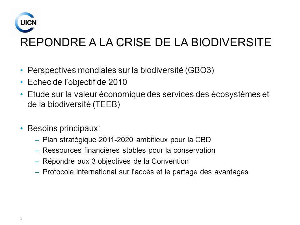 3 REPONDRE A LA CRISE DE LA BIODIVERSITE Perspectives mondiales sur la biodiversité (GBO3) Echec de lobjectif de 2010 Etude sur la valeur économique d