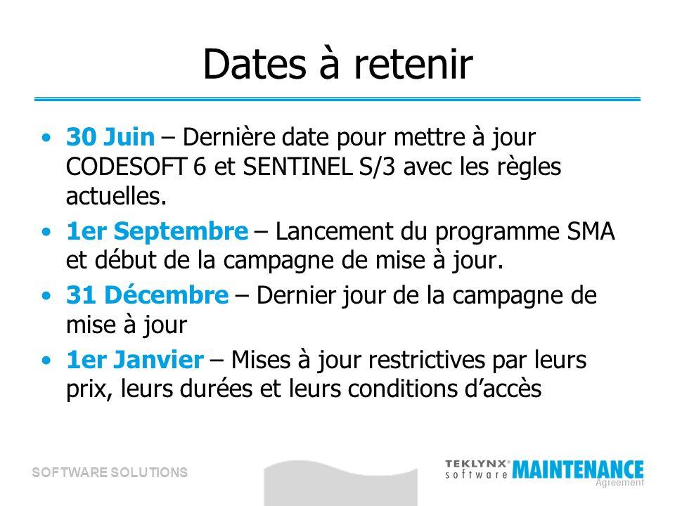 SOFTWARE SOLUTIONS Dates à retenir 30 Juin – Dernière date pour mettre à jour CODESOFT 6 et SENTINEL S/3 avec les règles actuelles.