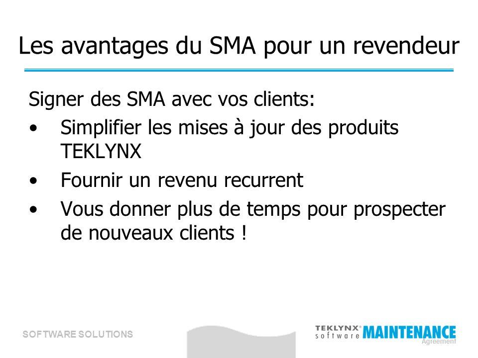 SOFTWARE SOLUTIONS Les avantages du SMA pour un revendeur Signer des SMA avec vos clients: Simplifier les mises à jour des produits TEKLYNX Fournir un revenu recurrent Vous donner plus de temps pour prospecter de nouveaux clients !
