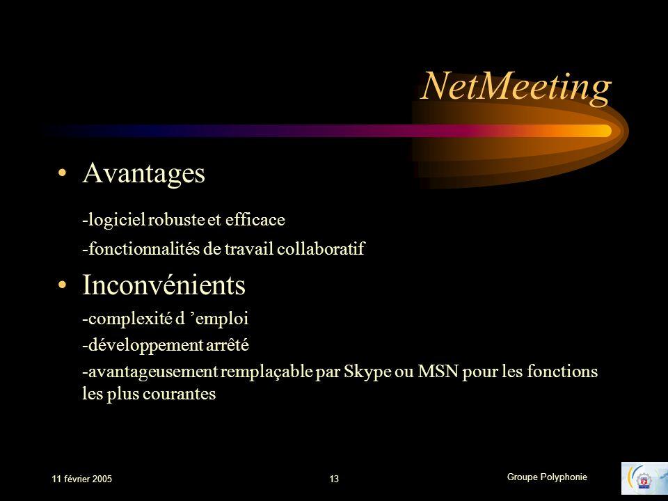 Groupe Polyphonie 11 février 200513 NetMeeting Avantages -logiciel robuste et efficace -fonctionnalités de travail collaboratif Inconvénients -complexité d emploi -développement arrêté -avantageusement remplaçable par Skype ou MSN pour les fonctions les plus courantes