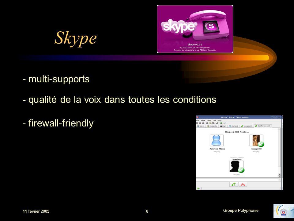 Groupe Polyphonie 11 février 20058 Skype - multi-supports - qualité de la voix dans toutes les conditions - firewall-friendly