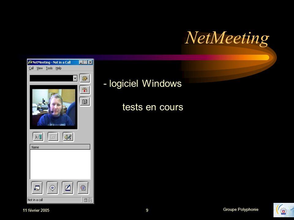 Groupe Polyphonie 11 février 20059 NetMeeting - logiciel Windows tests en cours