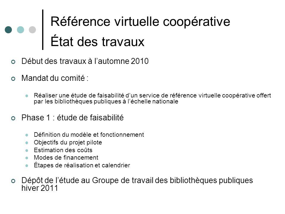 Référence virtuelle coopérative État des travaux Début des travaux à lautomne 2010 Mandat du comité : Réaliser une étude de faisabilité dun service de