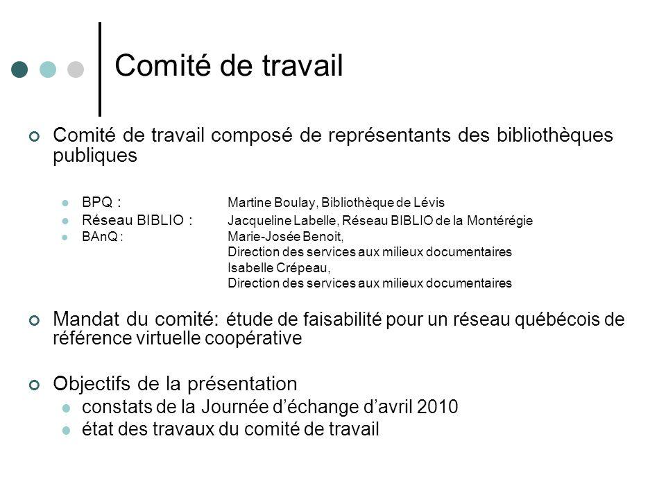 Comité de travail Comité de travail composé de représentants des bibliothèques publiques BPQ : Martine Boulay, Bibliothèque de Lévis Réseau BIBLIO : J