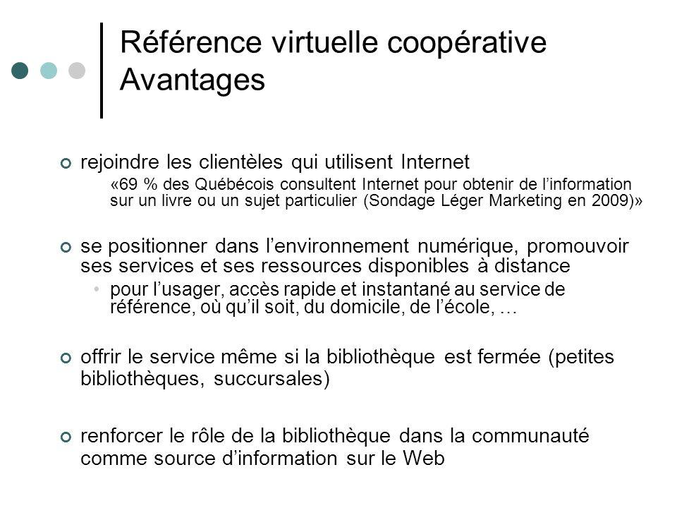 Référence virtuelle coopérative Avantages rejoindre les clientèles qui utilisent Internet «69 % des Québécois consultent Internet pour obtenir de linf