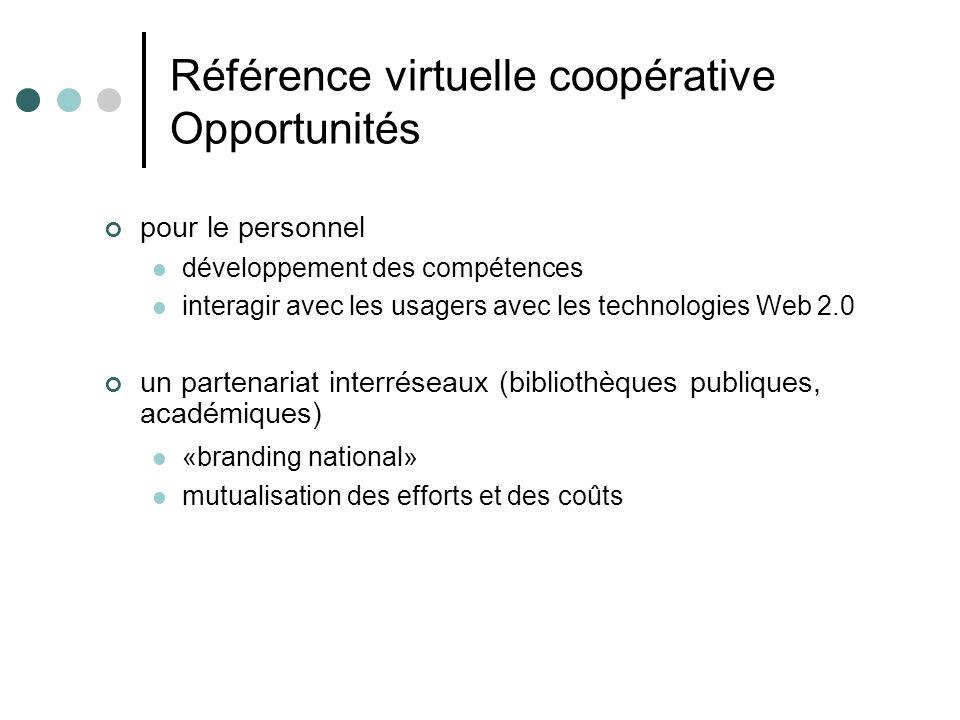 Référence virtuelle coopérative Opportunités pour le personnel développement des compétences interagir avec les usagers avec les technologies Web 2.0 un partenariat interréseaux (bibliothèques publiques, académiques) «branding national» mutualisation des efforts et des coûts