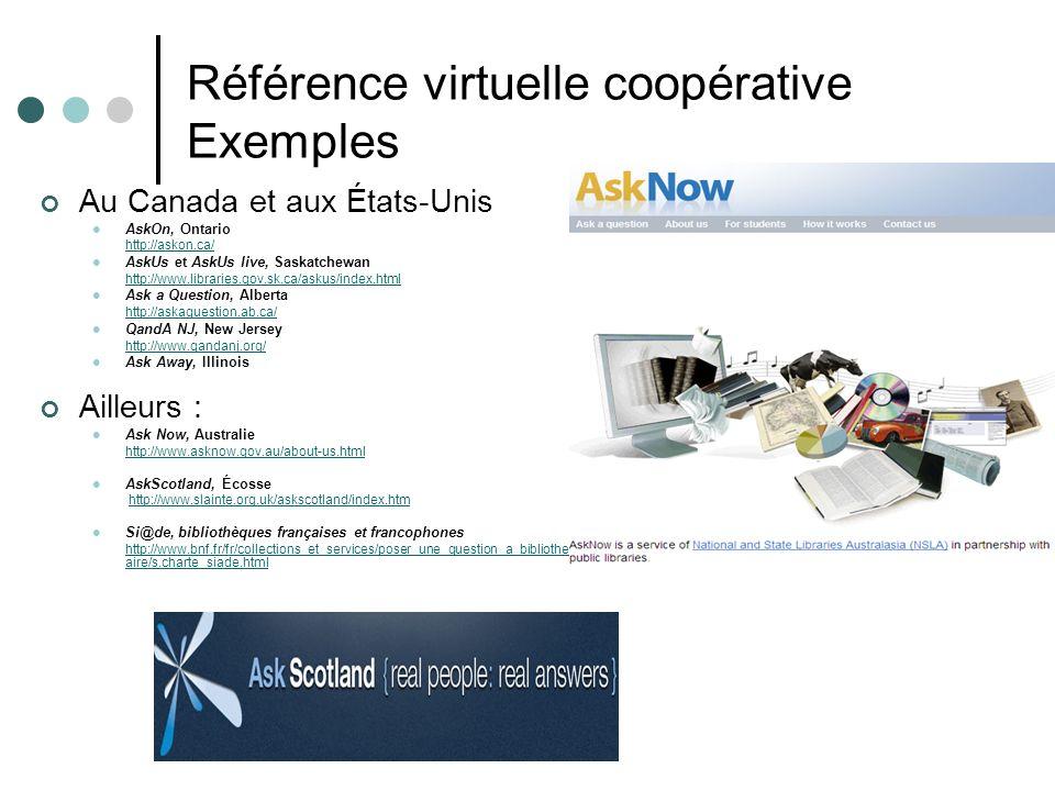 Référence virtuelle coopérative Exemples Au Canada et aux États-Unis AskOn, Ontario http://askon.ca/ AskUs et AskUs live, Saskatchewan http://www.libr
