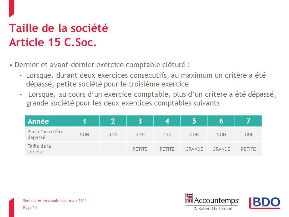 Séminaires Accountemps mars 2011 Page 14 Taille de la société Article 15 C.Soc.