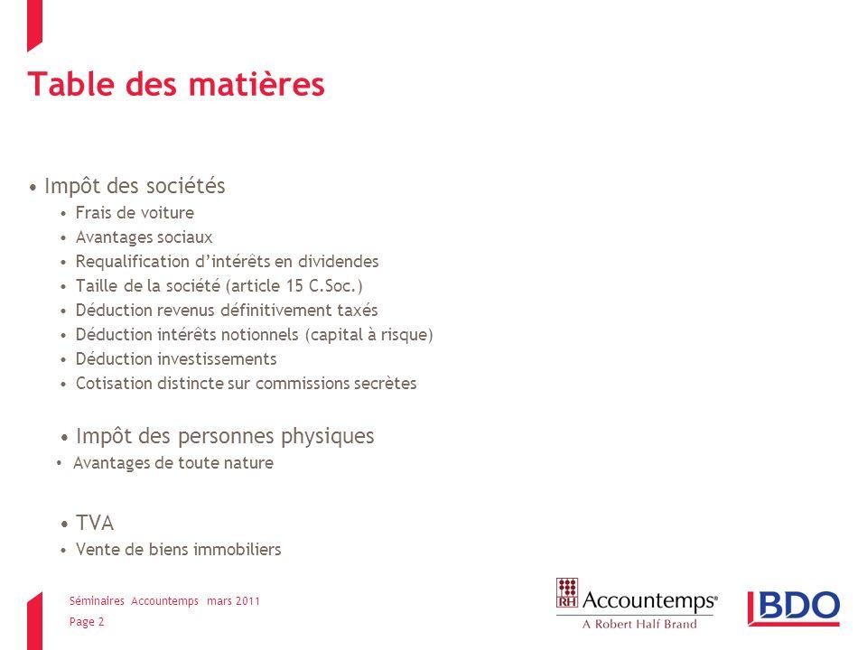 Séminaires Accountemps mars 2011 Page 13 Taille de la société Article 15 C.Soc.