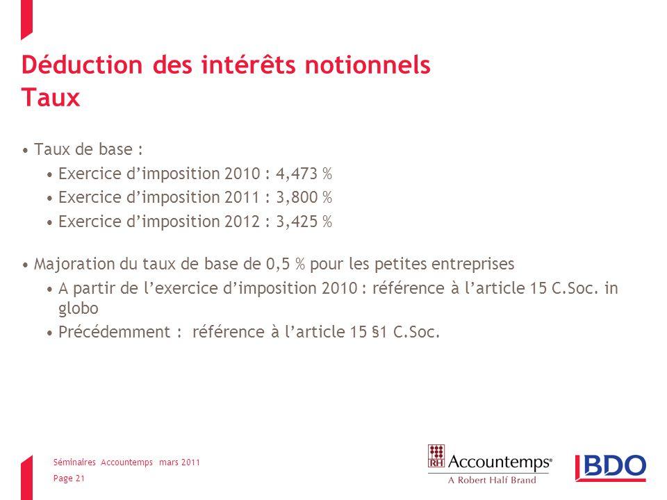 Séminaires Accountemps mars 2011 Page 21 Déduction des intérêts notionnels Taux Taux de base : Exercice dimposition 2010 : 4,473 % Exercice dimposition 2011 : 3,800 % Exercice dimposition 2012 : 3,425 % Majoration du taux de base de 0,5 % pour les petites entreprises A partir de lexercice dimposition 2010 : référence à larticle 15 C.Soc.