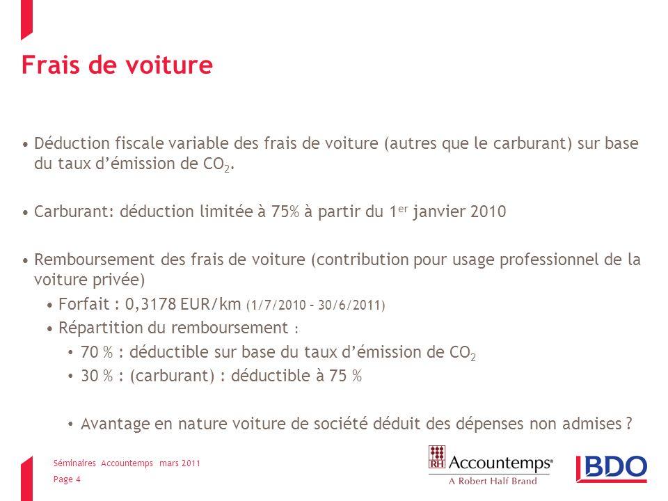 Séminaires Accountemps mars 2011 Page 5 Frais de voiture Pour les voitures à essence % de déduction à partir du 01/01/2010Emission CO 2 (gr./km) 50> 205 si aucunes données CO 2 disponibles à la DIV 60> 180 à max.