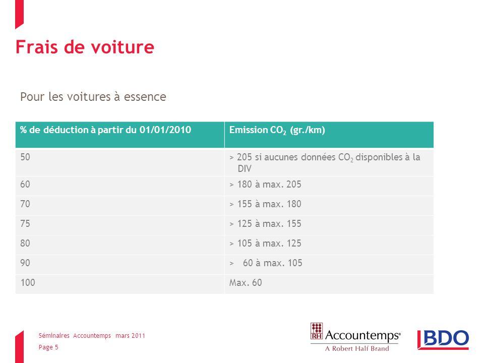 Séminaires Accountemps mars 2011 Page 6 Frais de voiture Pour les voitures diesel % de déduction à partir du 01/01/2010Emission de CO 2 (gr./km) 50> 195 si aucunes données CO 2 disponibles à la DIV 60> 170 à max.