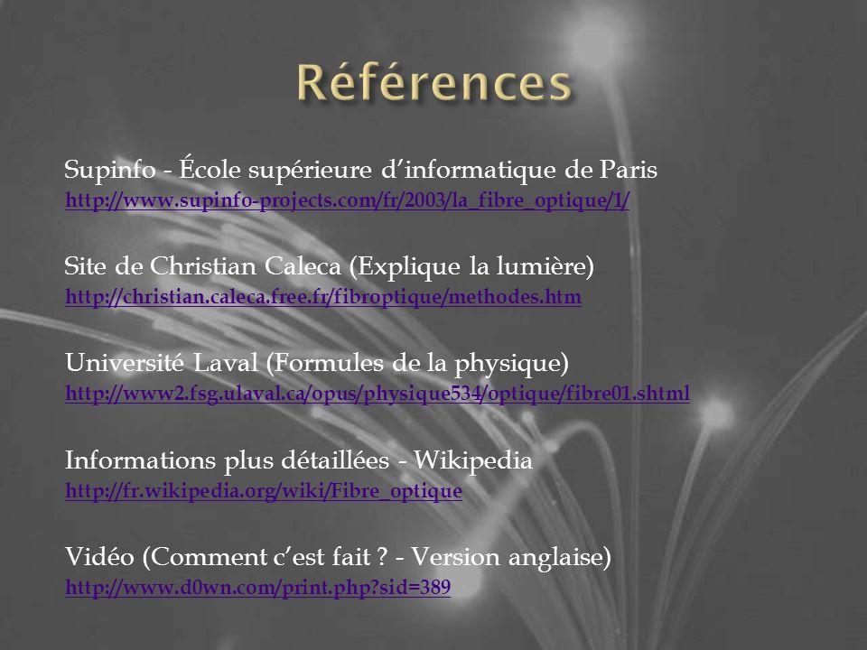 Supinfo - École supérieure dinformatique de Paris http://www.supinfo-projects.com/fr/2003/la_fibre_optique/1/ Site de Christian Caleca (Explique la lumière) http://christian.caleca.free.fr/fibroptique/methodes.htm Université Laval (Formules de la physique) http://www2.fsg.ulaval.ca/opus/physique534/optique/fibre01.shtml Informations plus détaillées - Wikipedia http://fr.wikipedia.org/wiki/Fibre_optique Vidéo (Comment cest fait .