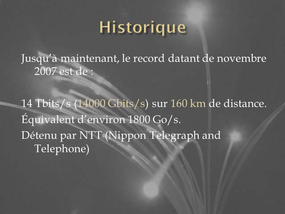 Jusquà maintenant, le record datant de novembre 2007 est de : 14 Tbits/s (14000 Gbits/s) sur 160 km de distance.