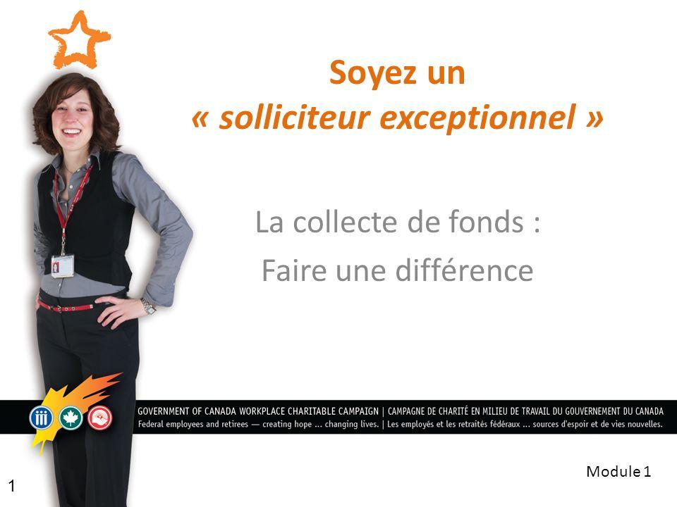 Soyez un « solliciteur exceptionnel » La collecte de fonds : Faire une différence 1 Module 1