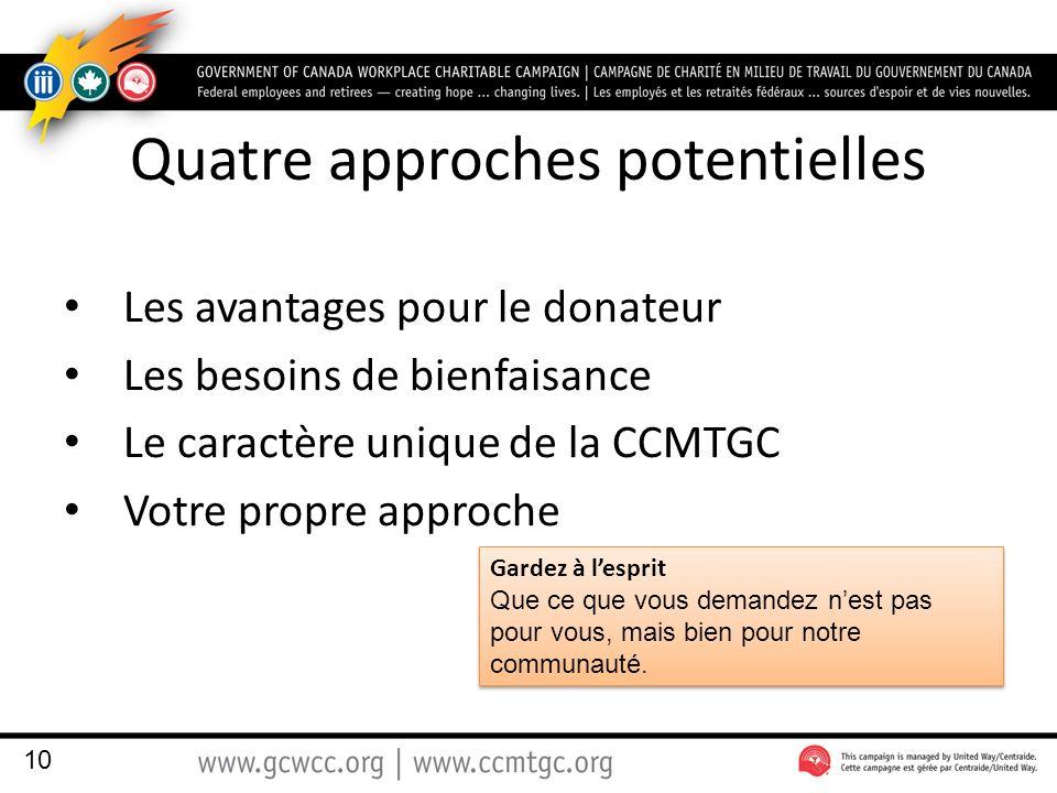 Quatre approches potentielles Les avantages pour le donateur Les besoins de bienfaisance Le caractère unique de la CCMTGC Votre propre approche 10 Gardez à lesprit Que ce que vous demandez nest pas pour vous, mais bien pour notre communauté.