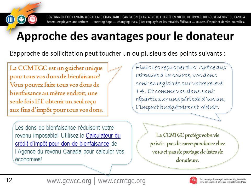 Approche des avantages pour le donateur Lapproche de sollicitation peut toucher un ou plusieurs des points suivants : 12 La CCMTGC est un guichet unique pour tous vos dons de bienfaisance.