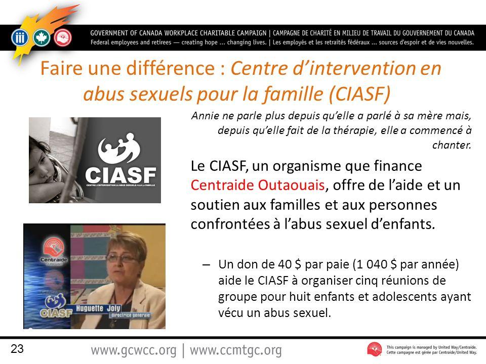 Faire une différence : Centre dintervention en abus sexuels pour la famille (CIASF) Annie ne parle plus depuis quelle a parlé à sa mère mais, depuis q