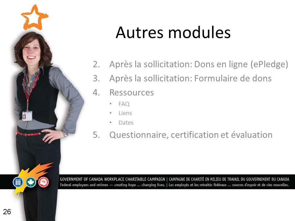 Autres modules 2.Après la sollicitation: Dons en ligne (ePledge) 3.