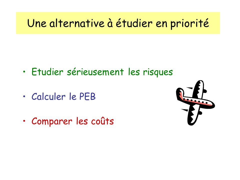 Une alternative à étudier en priorité Etudier sérieusement les risques Calculer le PEB Comparer les coûts