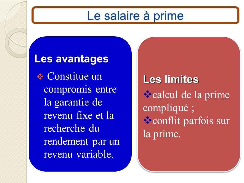 Le salaire à prime Les avantages Constitue un compromis entre la garantie de revenu fixe et la recherche du rendement par un revenu variable. Les limi