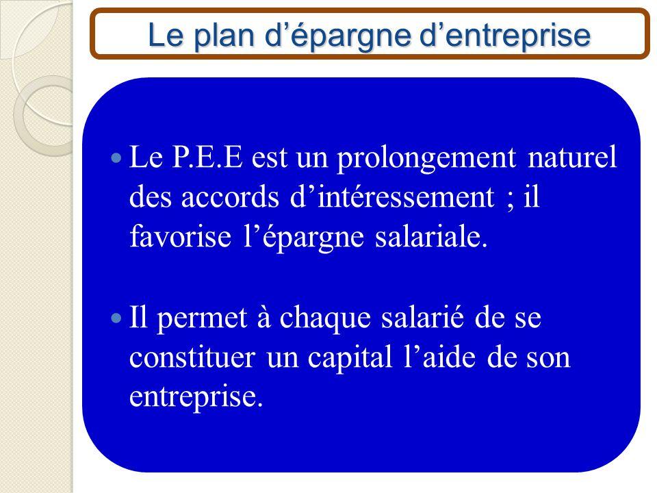 Le plan dépargne dentreprise Le P.E.E est un prolongement naturel des accords dintéressement ; il favorise lépargne salariale. Il permet à chaque sala