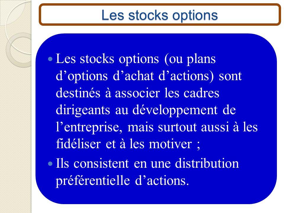 Les stocks options Les stocks options (ou plans doptions dachat dactions) sont destinés à associer les cadres dirigeants au développement de lentrepri