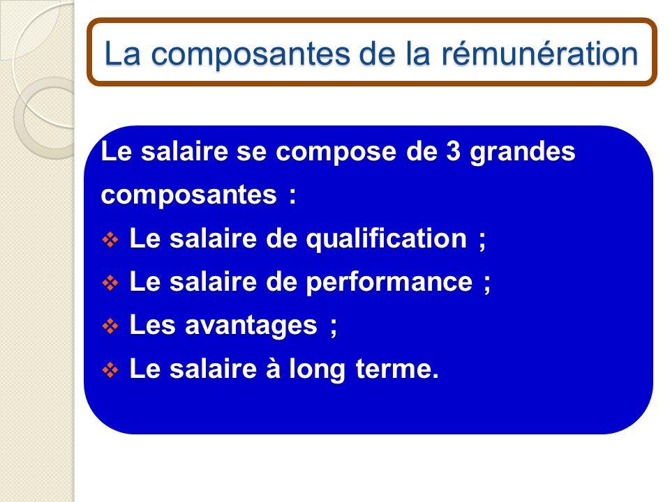 La composantes de la rémunération Le salaire se compose de 3 grandes composantes : Le salaire de qualification ; Le salaire de qualification ; Le sala