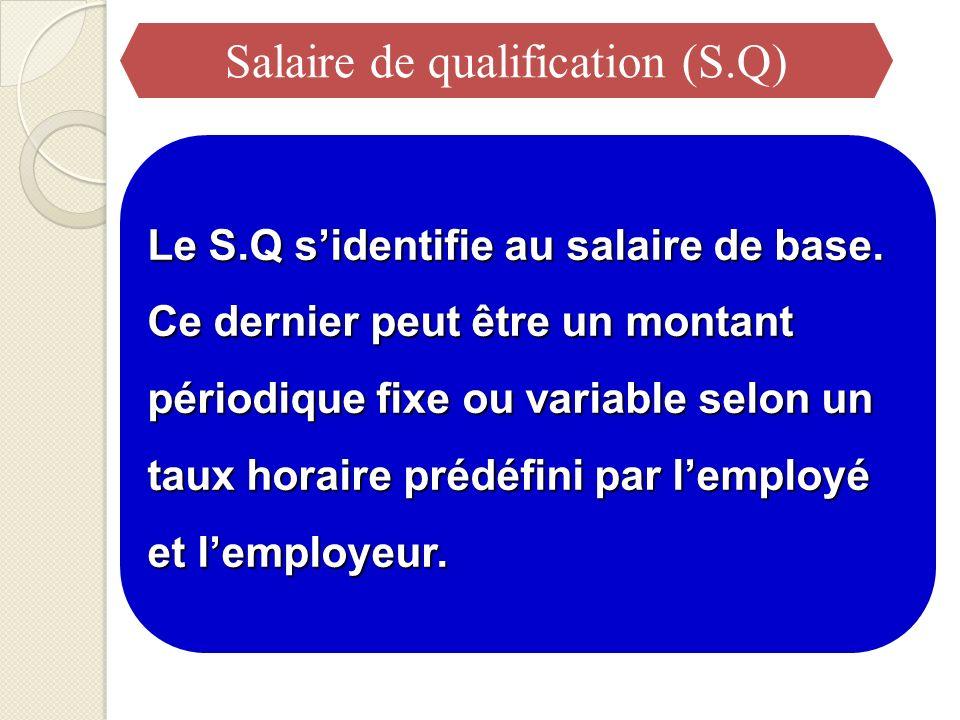 Le S.Q sidentifie au salaire de base. Ce dernier peut être un montant périodique fixe ou variable selon un taux horaire prédéfini par lemployé et lemp