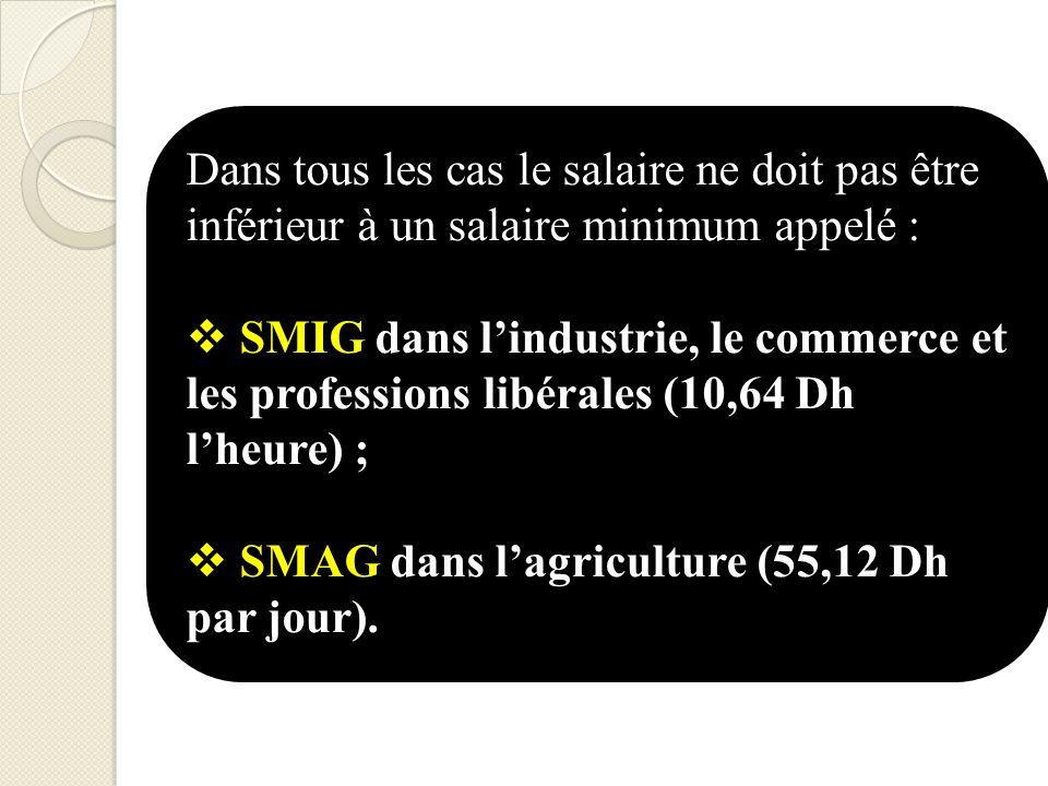 Dans tous les cas le salaire ne doit pas être inférieur à un salaire minimum appelé : SMIG dans lindustrie, le commerce et les professions libérales (