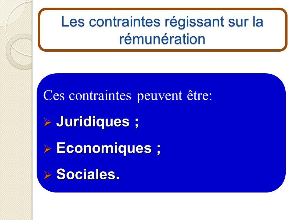 Les contraintes régissant sur la rémunération Ces contraintes peuvent être: Juridiques ; Juridiques ; Economiques ; Economiques ; Sociales. Sociales.
