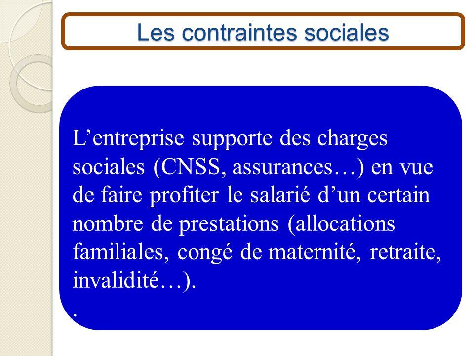 Les contraintes sociales Lentreprise supporte des charges sociales (CNSS, assurances…) en vue de faire profiter le salarié dun certain nombre de prest