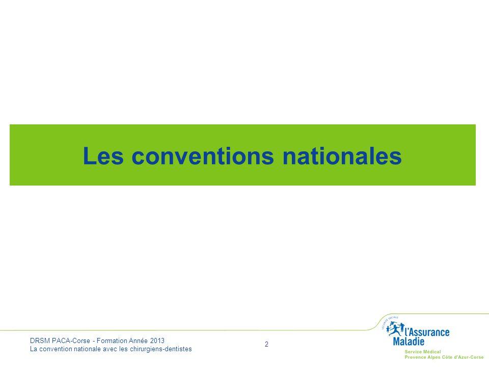 DRSM PACA-Corse - Formation Année 2013 La convention nationale avec les chirurgiens-dentistes 13 SES PRIORITÉS améliorer la prévention bucco-dentaire revaloriser les soins conservateurs précoces et chirurgicaux accès aux soins Inspirée dans sa rédaction de la convention médicale La convention nationale dentaire