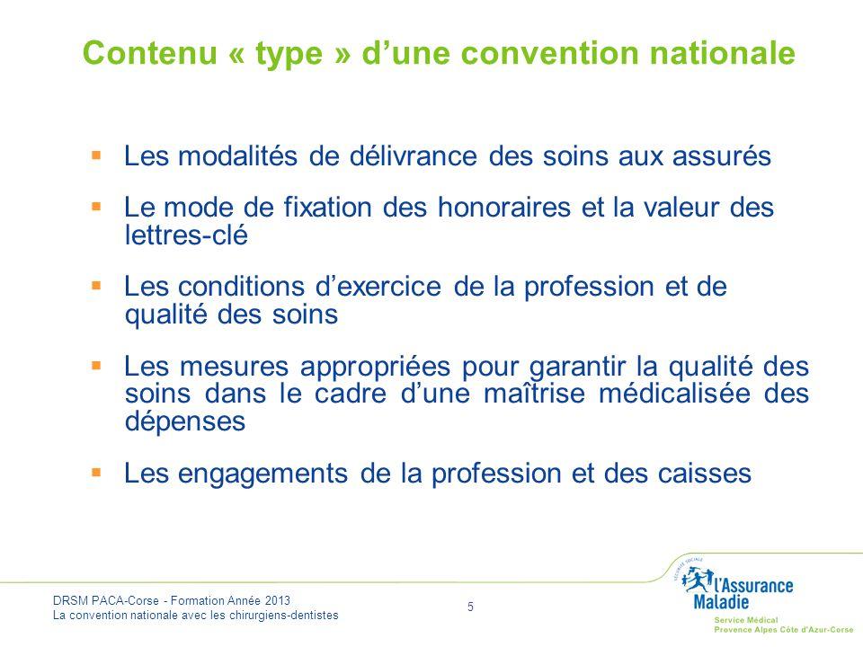 DRSM PACA-Corse - Formation Année 2013 La convention nationale avec les chirurgiens-dentistes 16