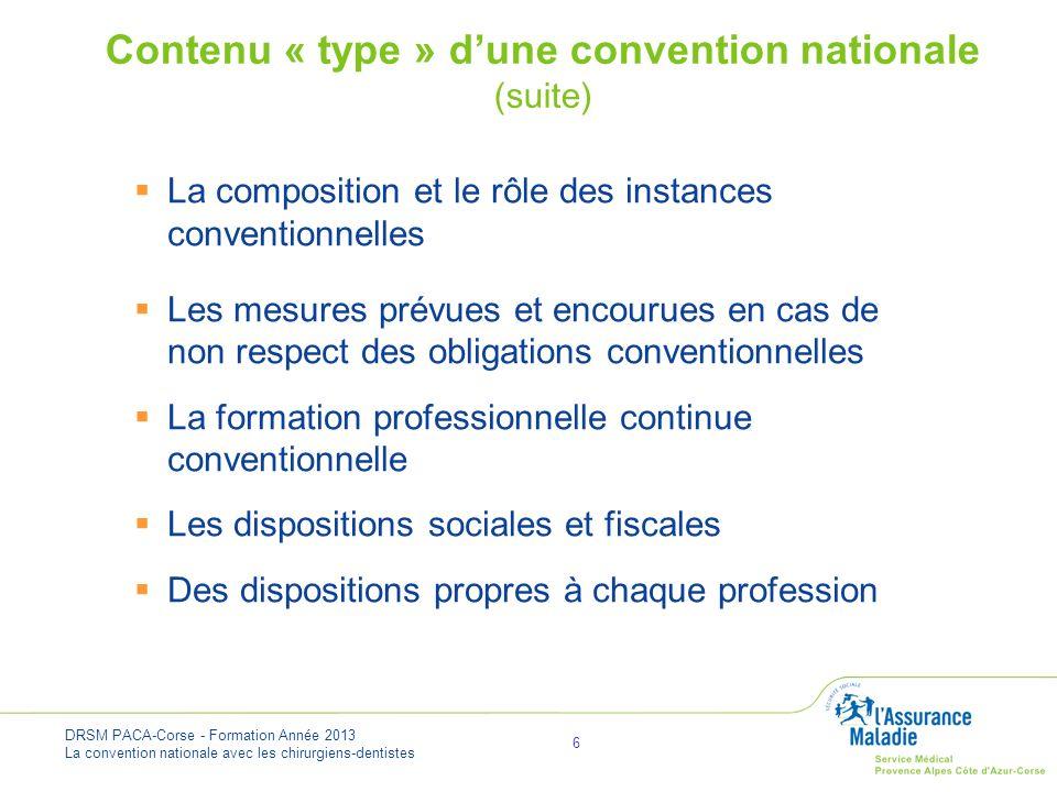 DRSM PACA-Corse - Formation Année 2013 La convention nationale avec les chirurgiens-dentistes 7 Avantages du conventionnement pour les professionnels de santé Lorsque le professionnel décide d exercer dans le cadre conventionnel : ses honoraires sont pris en charge par l assurance maladie (dans la limite des tarifs fixés par la convention) il bénéficie davantages sociaux