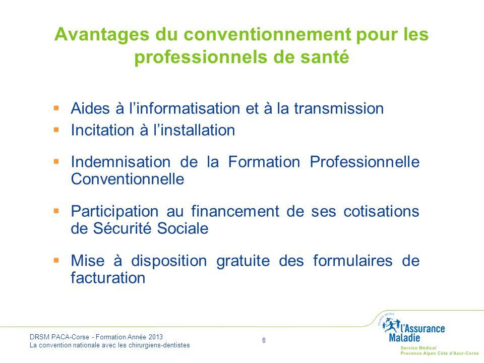 DRSM PACA-Corse - Formation Année 2013 La convention nationale avec les chirurgiens-dentistes 9 Obligations pour le professionnel de santé Assurer des soins de qualité Maîtriser les dépenses de santé Respecter les tarifs conventionnels : tarifs opposables, facturation